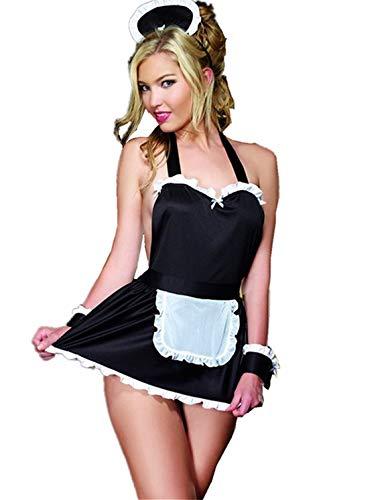 BeeMuse Damen Sexy Minirock Ouvert Babydoll Cosplay Uniform Dienstmädchen Schulmädchen Nachtwäsche Reizwäsche Kostüm Negligee Dessous