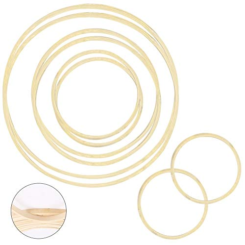 Joy.Box 8 Pieces 4 Sizes Wooden Bamboo Floral Hoop Set,Dream Catcher Rings for DIY Craft Supplies,Macrame Hoop Rings for Christmas,Wreath Making Kit for Wedding Wreath Decor