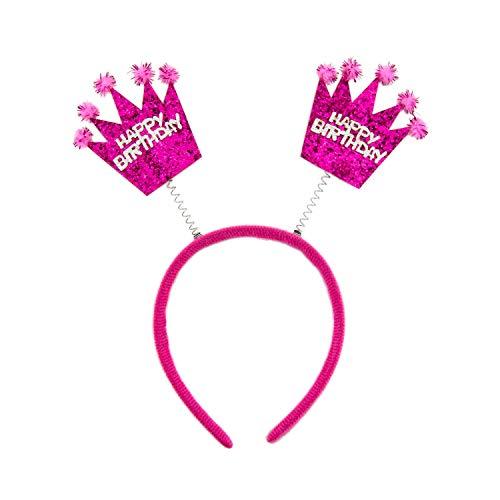 Oblique Unique® Haarreifen Happy Birthday Haarreif mit wackelnden Pailletten Kronen mit Glitzereffekt für Geburtstag Kindergeburtstag Mädchen in Pink