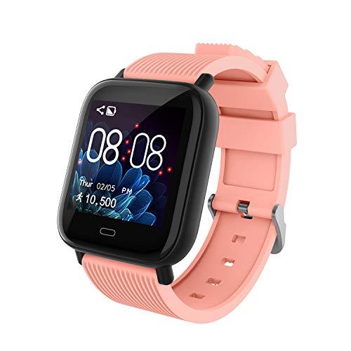 Smartwatch Deporte para Hombre Mujer Impermeable Reloj Inteligente con Monitore de Actividad Monitor de Frecuencia Cardiaca Podómetro Monitor de Sueño Multifunción para Android e iOS (Rosa Naranja)