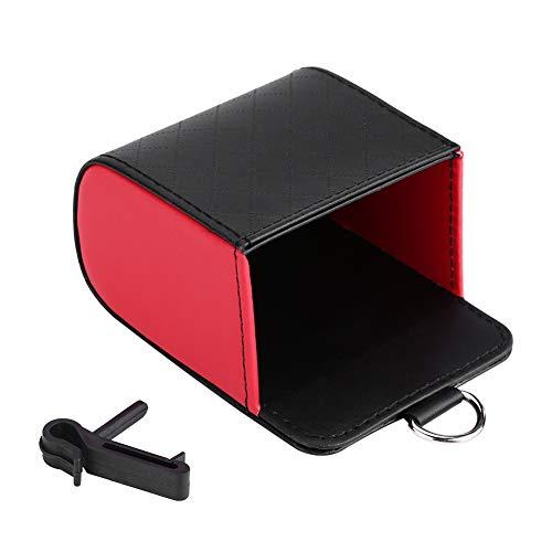 Auto Organizer Air Vent Opbergdoos PU Lederen Auto Opbergtas Bewaar Telefoonhoesje Glazen Pens Houder Pocket default Zwart + Rood