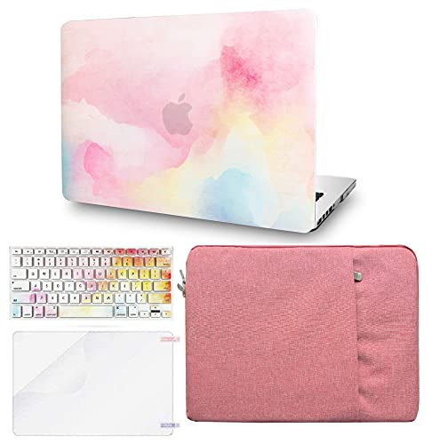 KECC Laptop Case Compatible with MacBook Air 13' w/Keyboard Cover + Sleeve + Screen Protector (4 in 1 Bundle) Plastic Hard Shell Case A1466/A1369 (Rainbow Mist)