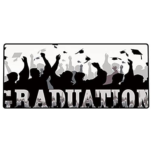 Alfombrilla de ratón para Juegos 800x400x3mm,Decoración de graduación, celebración de la Academia, Siluetas de Estudiantes, Gorras de Graduado Base de Goma Antideslizante, Adecuada para Jugadores