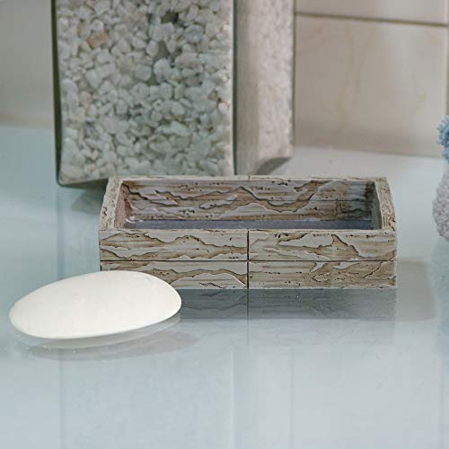 nu steel Nusteel Rustic, Made of Cement Dish Tray for Bathroom Vanities, Countertops, Pedestals, Kitchen Sink-Store Hand Soap, Pumice Bars, Sponges, Scrubbers, Antique Stone Finish