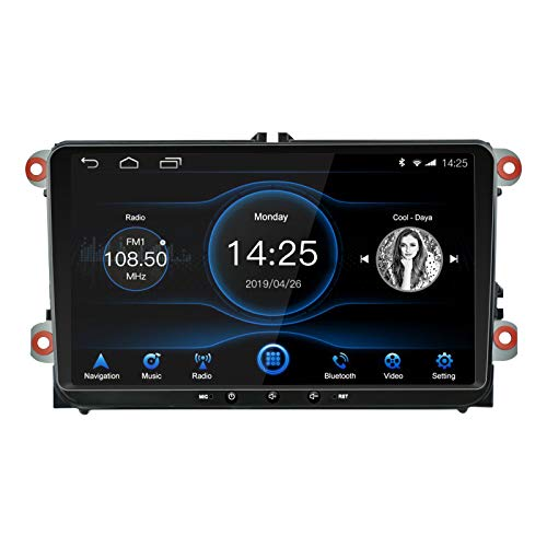 EZoneTronics Android 8.1-Autoradio 22,9 cm kapazitiver Touch-IPS-Display, HD-GPS-Navigation, BT-USB-Player, 2G ROM + 16G RAM für VW Passat Golf MK5 MK6 Jetta T5 EOS Polo Touran Seat Sharan
