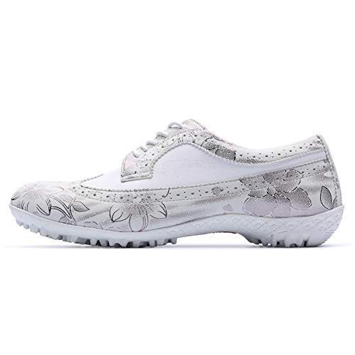 CGBF-Chaussures de golf en microfibre pour femme Chaussures de sport décontractées légères et respirantes Chaussures de marche imperméables antidérapantes en cuir pour femme - Beige - beige, 38.5 EU