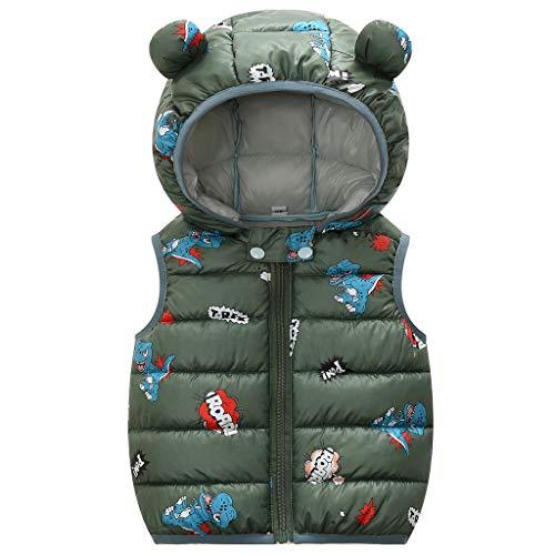 Baby Winter Weste Mantel Kinderjacke Steppweste Kleinkind ärmellose Leicht Warm Gepolstert Outwear Grün 1-2 Jahre