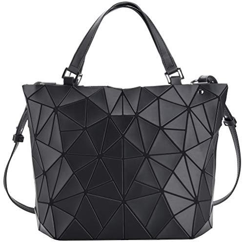 VBIGER Handtaschen Damen Groß Geometrische Tasche Matte Schwarz Damentasche Schultertaschen Umhängetaschen für Frauen (Schwarz Groß)