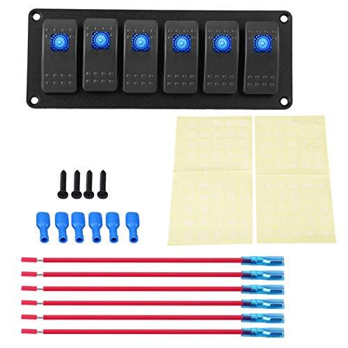 Panel de interruptores basculantes, panel de interruptores basculantes de 12-24 V, 6 bandas para coche, RV, barco, yate, marino(azul)