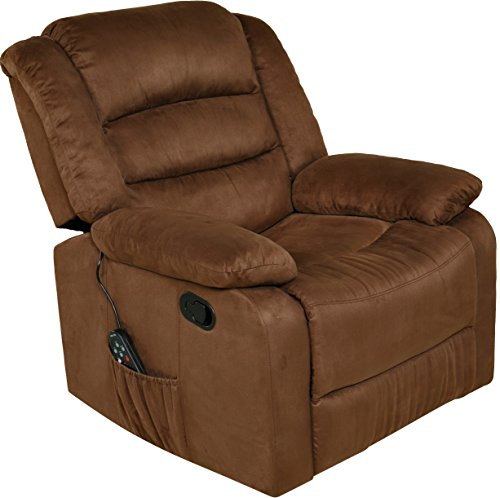 Relaxzen Massage Rocker Recliner with Heat and USB, Brown...