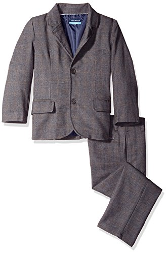 Andy & Evan Little Boys' Toddler Windowpane Check Suit 2 Piece Set, Grey, 4T