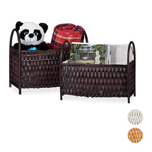 Relaxdays Opbergmanden, 2-delige set, multifunctionele manden, krantenrek, bamboe hout, met de hand gevlochten, chocoladebruin, 10 liter / 20 liter