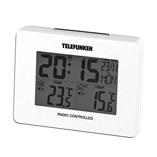 TELEFUNKEN Temperaturstation mit Funkwecker und Funk-Außensensor, Plastik, FTS-40 weiß, 10 x 7.5 x 3.5 cm