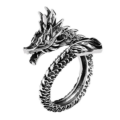Keai Anillo Anillo de dragón Retro Anillo de Plata tailandés para Hombre Anillo Abierto del Zodiaco