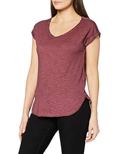 Urban Classics Damen Ladies Long Back Shaped Spray Dye Tee T-Shirt, Rot (burgundy 606), Small