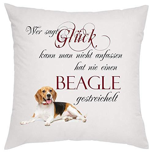 Crealuxe Wer SAGT Glück kann Man Nicht anfassen hat nie einen Beagle gestreichelt Zierkissen, Sofakissen, bedrucktes Kissen, Bauwollkissen