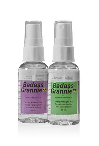 SPRAY HAND SANITIZER ULTRA MOISTURIZING PURE ESSENTIAL OILS LAVENDER PEPPERMINT 70% Alcohol Kills 99.9% of Germs. Soothing Cleansing. Natural. BADASS GRANNIE. Travel Size, 2 Pack-2oz Bottles.