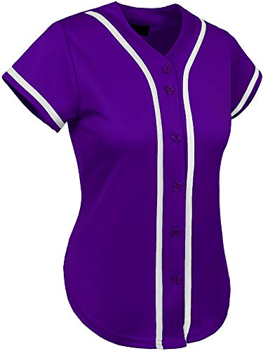 Hat and Beyond Womens Baseball Button Down Athletic Tee Short Sleeve Softball Jersey Active Plain Sport T Shirt (Large, 3up01 Purple/White)