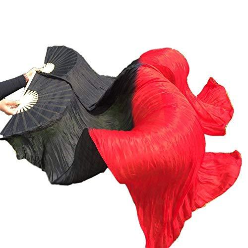 シルクファンベール 2本セット シルク100% ベリーダンス ファンベール シルクファンベール ベール シルク 衣装 扇子 団扇 舞台 小道具 アクセサリー 扇子 団扇 180 * 90 cm (黒赤)
