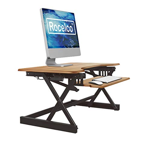 "Rocelco 32"" Height Adjustable Standing Desk Converter - Sit Stand Computer Workstation Riser - Dual Monitor Retractable Keyboard Tray Gas Spring Assist - Teak Wood Grain (R EADRT)"