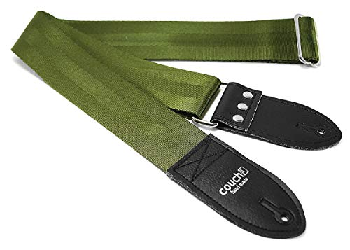 THE ORIGINAL RECYCLED SEATBELT GUITAR STRAP Made in USA by Couch Guitar Straps (Army Green)