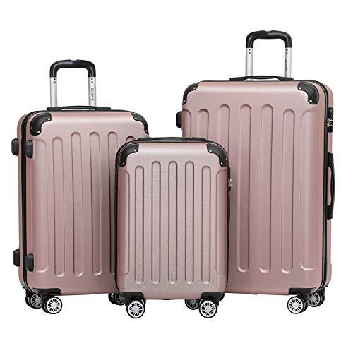 BEIBYE 2045 Zwillingsrollen 3tlg. Reisekoffer Koffer Kofferset Trolleys Hartschale in 14 Farben (Rosa Gold)