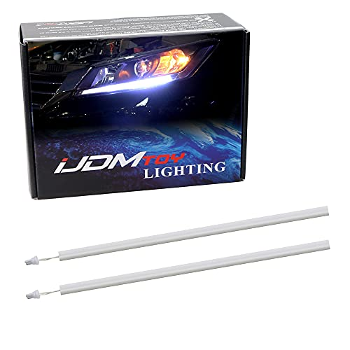 iJDMTOY Compatible With 2013-2015 Honda Accord Sedan, Set of Xenon White LED Even Illuminating Daytime Running Light Retrofit Kit, Fit Inside Headlight Parking Lamp Housing