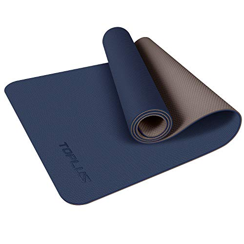 TOPLUS Yoga Mat, Upgraded 1/4 inch Non-Slip Texture Pro Yoga Mat Eco Friendly Exercise & Workout Mat with Carrying Strap - for Yoga, Pilates and Floor Exercises (Blue)