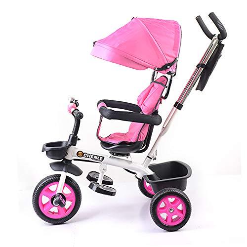 HYLX 4 en 1 Triciclo Infantil Bebe Evolutivo Trike Bike Bebé Plegable Pedal Bicicleta Niños Capota Extraíble Barra Telescópica Control Parental Dirección 6 Meses a 5 Años Máx 30 kg