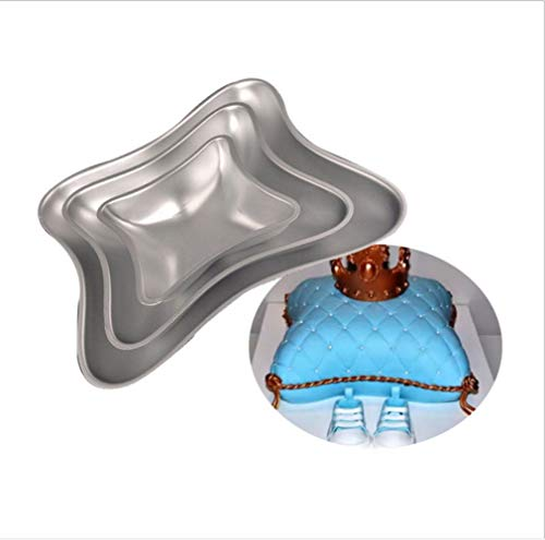 Aluminum Pillow Cake Baking Pan - 3 Piece Set with 7.5-Inch, 11-Inch and 14-Inch Cake Pans,Suitable for Birthdays,Party Cake