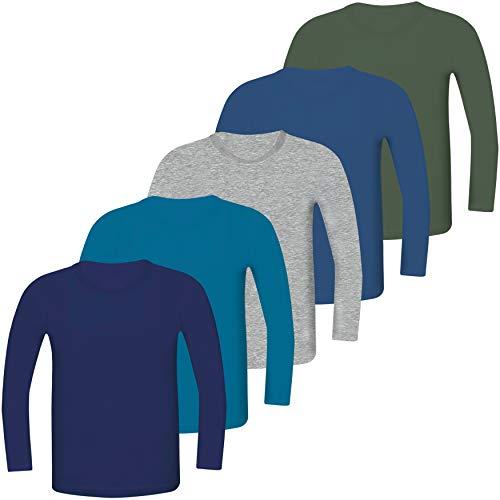 LOREZA ® 5 Paquetes niños Camisetas de Manga Larga (140-146 (10-11 años), Set de 5 Pack niños)