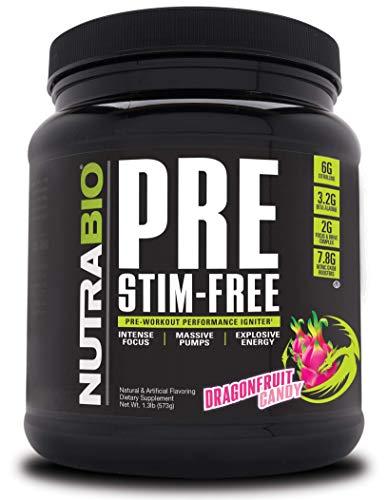 NutraBio PRE Stim Free – Caffeine Free Pre Workout Powder - Sustained Energy, Mental Focus, Endurance - Clinically Dosed Formula - Beta Alanine, Creatine - Dragonfruit Candy