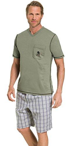 Otto Kern Herren Pyjama mit kurzer Hose 100{012fc0a0f5f8dbaa6893051374a962d05ce23471761bb8e4eaf4c54811bd32a6} Baumwolle I Kurzarm Shirt mit Brusttasche I Bermuda mit Seitentaschen & Knopfleiste I Olive Grün I Gr. 52 (L)