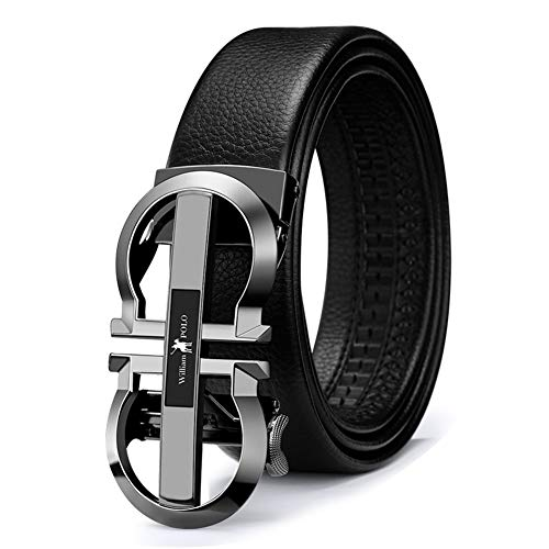 WilliamPolo Mens Leather Belt, Ratchet Belt with Automatic Sliding Buckle (Black-06, 39″-42″ Waist Adjustable)