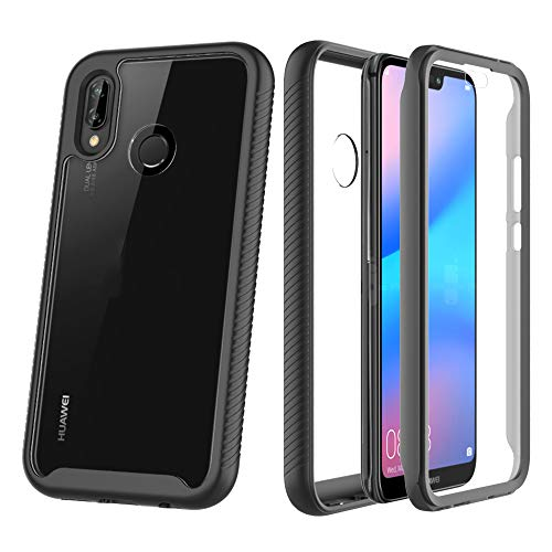 ZHXMALL Funda para Huawei P20 Lite Case,360 Grados Carcasa Cristal Ultra Fina PC Duro Panel Posterior Carcasa,Anti-Choque Anti-Arañazos Marco de TPU Suave Transparente Protectora Cover,Negro