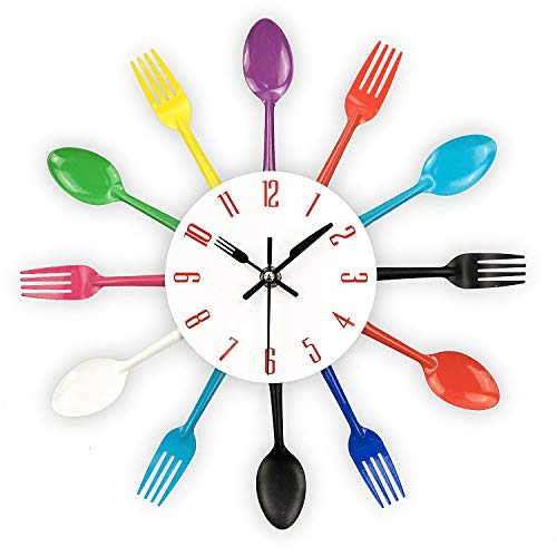 Beada Kitchen Wall Clock, 3D Removable Modern Cutlery Kitchen Spoon Fork Wall Clock Mirror Wall Decal Wall Sticker Room Home Decoration (Colorful)