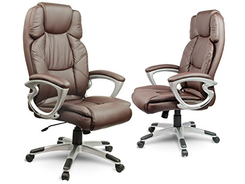 Bürostuhl Schreibtischstuhl Chefsessel Drehstuhl Kunstleder - braun Eago EG-227