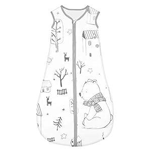 Yoofoss Saco de dormir para bebés Niños de 0-6 Meses años de 70 a 90 cm y 4 Estaciones 100% al algodón orgánico Unisex(S, Bosque)