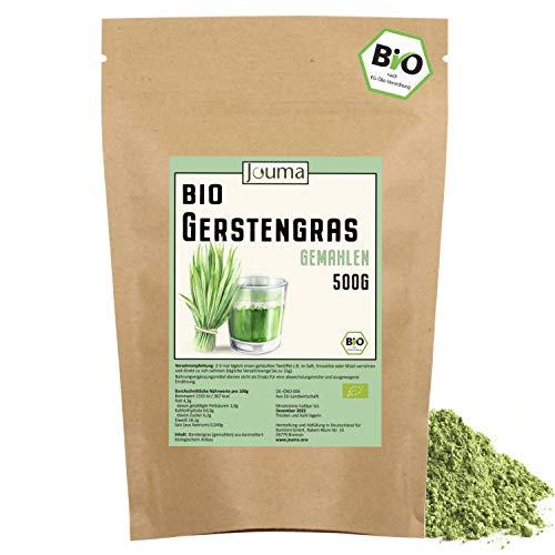 BIO Gerstengras Pulver (500g) | Hergestellt in Deutschland | 100% vegan Gerstengraspulver | Ideal für Gerstengrassaft | Superfood ohne Zusätze | Laborgeprüft | Jouma