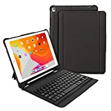 iPad 10.2 inch Keyboard case, OMOTON iPad 7th Generation case with Keyboard for iPad 10.2/iPad Air 10.5/iPad Pro 10.5, Ultra-Thin Bluetooth Keyboard Case with Built-in Stand and Pencil Holder, Black