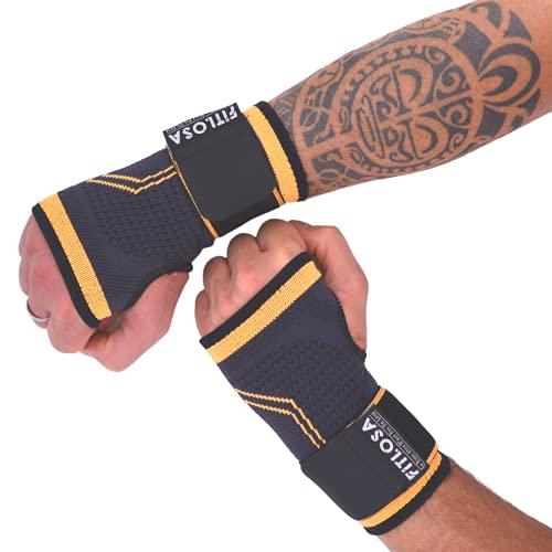 FITLOSA - 2 Set Handgelenk Bandagen Fitness - handbandage Sport - Schutzschiene - Verstellbar mit Band - Männer Frauen - Rechts Linke - Hand Bandage - Krafttraining - Wrist Wrap Support - Orange L