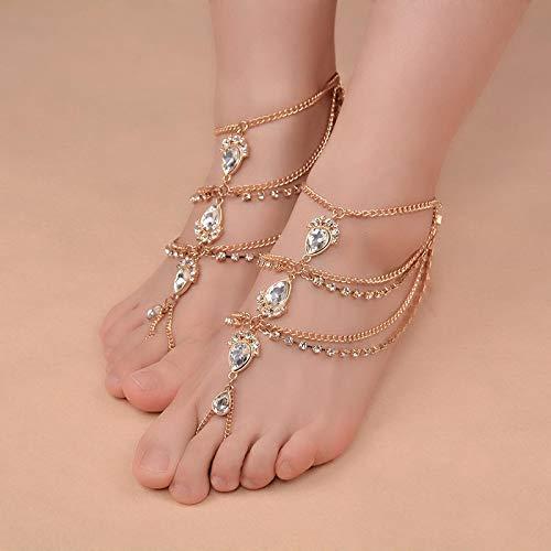 Cadena de pie 1 par de cadenas de garra de moda multicapa cadena de pies de cristal playa gota de agua colgante sandalias Rhinestone tobillera joyería oro par