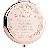 Onederful Aunt Gifts from Nephew and Niece,Aunt Birthday Gift Ideas, Rose Gold Compact Makeup Mirror Gift for Aunt, Thanksgiving Day, Christmas,Mother's Day Present for Aunt(Fabulous Aunt)