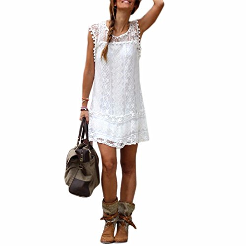 Sommer weisses Minikleid Frauen Spitze Kleid Beilaeufiges Sleeveless Partei Kleid, L, Farbe: Weiß