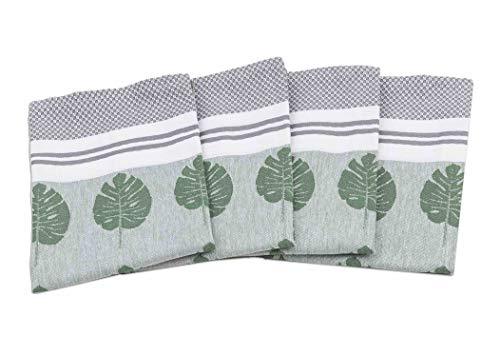 myHomery Geschirrhandtücher mit modernen Motiven im praktischen 4er Set aus 100% Baumwolle Blätter - Grün | 4er-Set - 50 x 70 cm