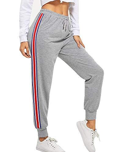 BUDERMMY Damen Jogginghose Sporthose Freizeit Streifen Hose Baumwolle Elastischer Bund Traininghose mit Taschen (Grau-M)