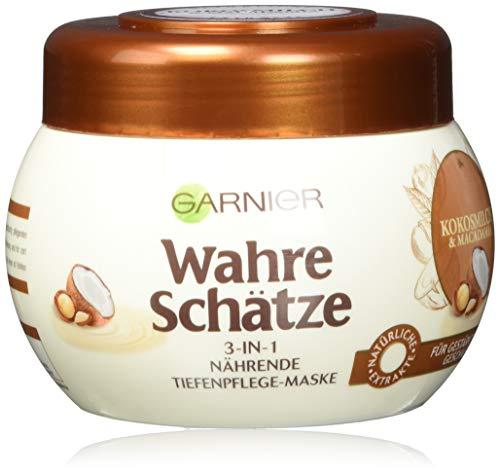 Garnier Wahre Schätze 3-in-1 Nährende Tiefenpflege-Maske, mit Kokosnuss und Macadamia, 1er-Pack (1 x 300 ml)