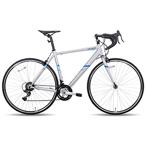 Hiland Rennrad 700c Rennrad Stahl City Commuter Fahrrad mit 14 Geschwindigkeiten Silber