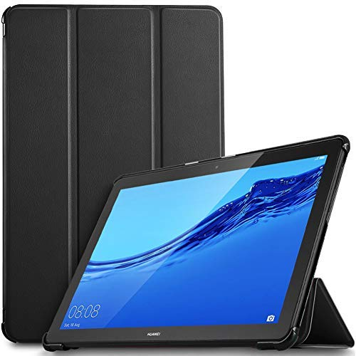 IVSO Hülle für Huawei MediaPad T5 10, Ultra Schlank Slim Schutzhülle Hochwertiges PU mit Standfunktion Ideal Geeignet für Huawei MediaPad T5 10 10.1 Zoll 2018 Modell, Schwarz