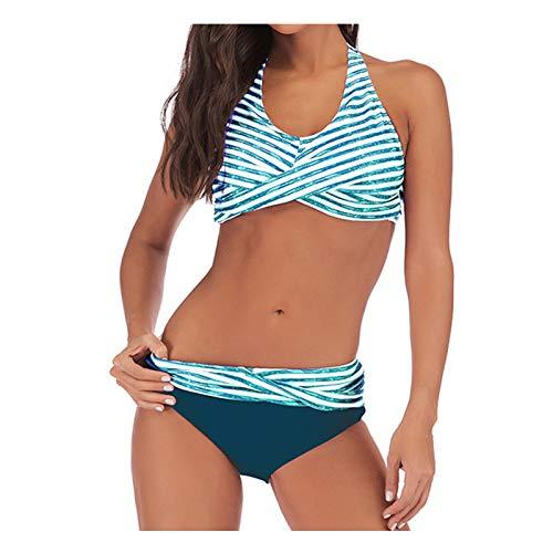 TGTB Traje de baño dividido sexy a rayas impresión halter cintura media playa vacaciones bikini conjunto Striae traje de baño